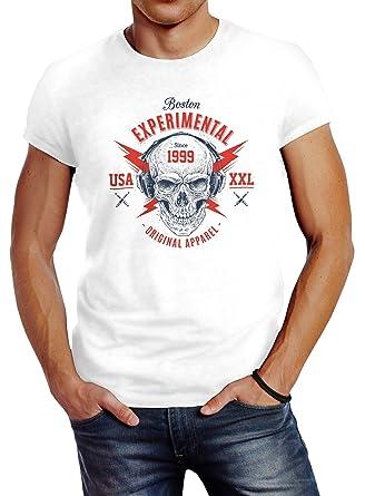 4a4b897f3f1a5c Neverless Herren T-Shirt Totenkopf Kopfhörer Skull Techno Experimental  Music Slim Fit  Amazon.de  Bekleidung