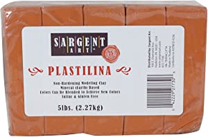 Sargent Art Plastilina Modeling Clay, 5-Pound, Terracotta