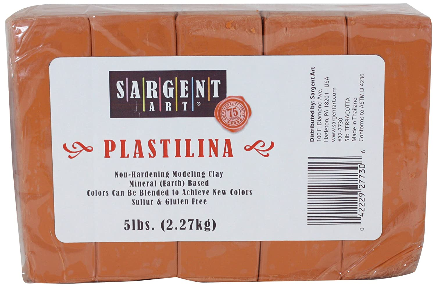 Sargent Art Plastilina Modeling Clay, 5-Pound, Terracotta 22-7730