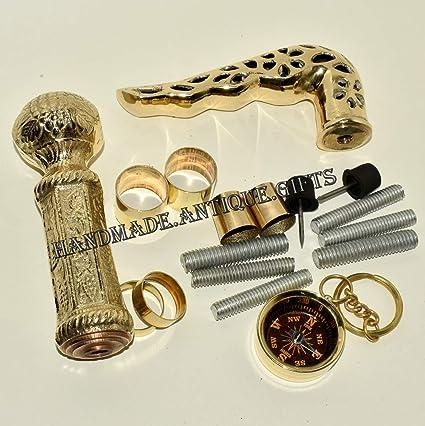 Lot of 2 Antique Style Brass Vintage Designer Handle Walking Wooden Stick Cane
