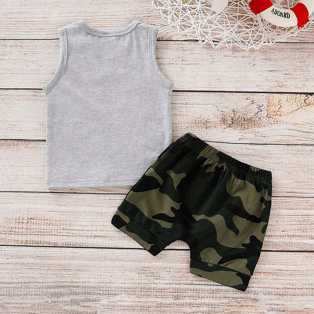 0-3T Toddler Kids Newborn Baby Boys Clothes Set Summer Cool Vest Tops and Camouflage Shorts 2Pcs Outfits