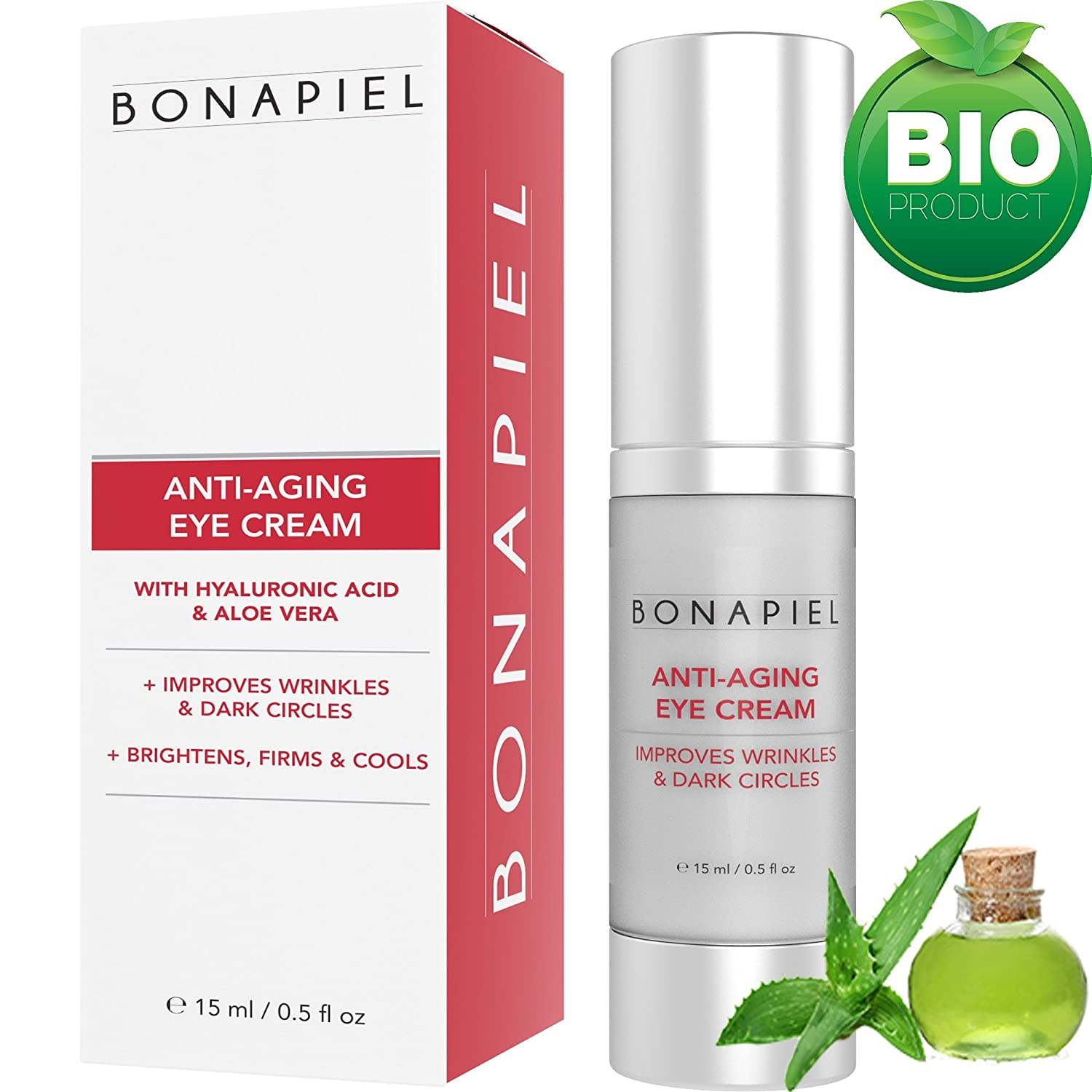 Bio & Vegan Eye Cream With Hyaluronic Acid, Aloe Vera, Argan Oil and Green Tea Extract by Bonapiel | Reduce fine lines, wrinkles, dark circles, puffiness | Natural, Organic Anti Aging Eye Care Treatment | 15 ml collagen building formula for all skin t