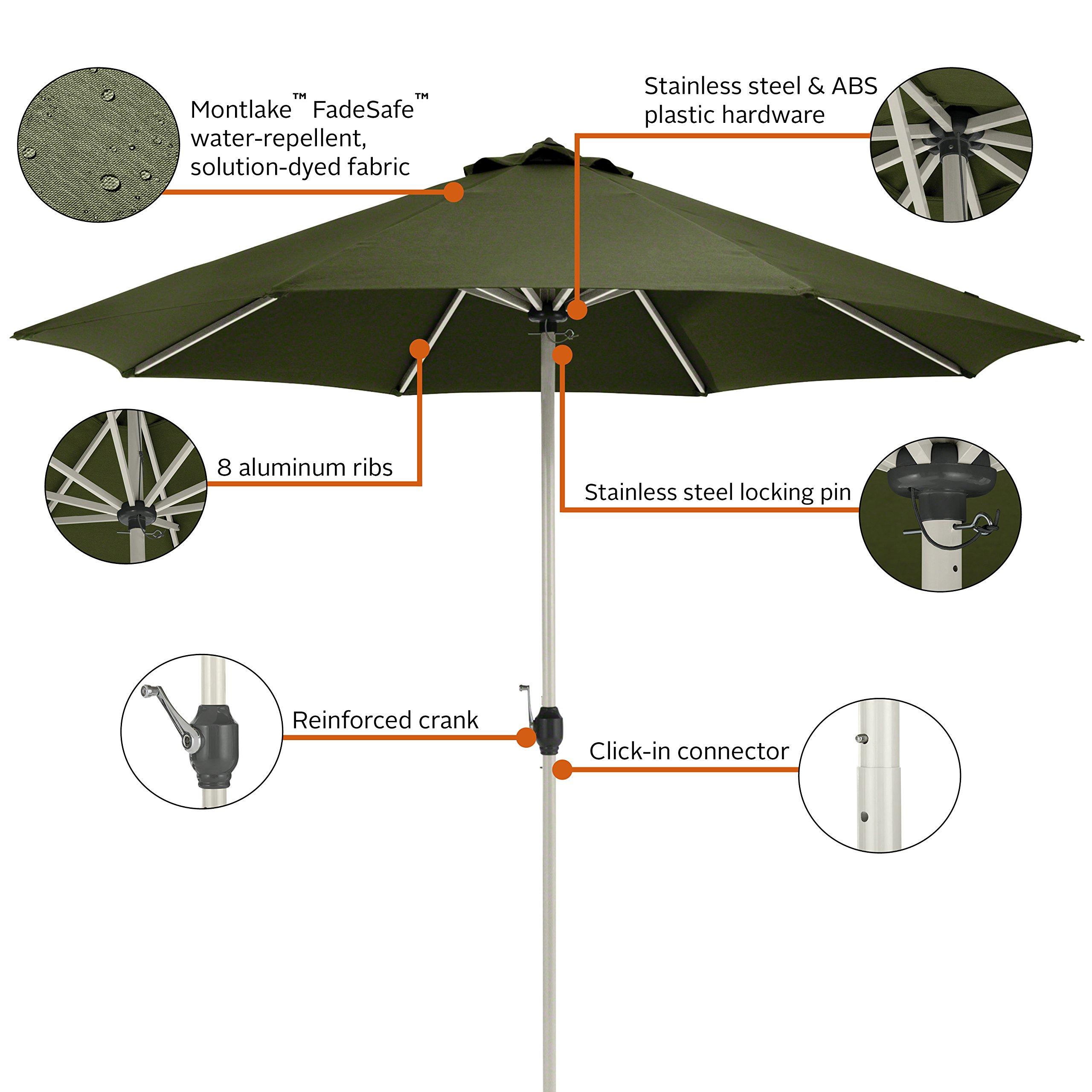 Classic Accessories Montlake FadeSafe 9-Foot Round Aluminum Patio Umbrella, Heather Fern by Classic Accessories (Image #3)