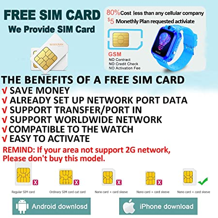 Amazon.com: [2019 Upgrade Free SIM Card] Waterproof Smart ...