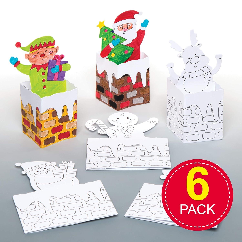 Baker Ross Tarjetas 3D de chimeneas navideñas para Colorear (Pack de 6), Ideales para Manualidades y Decoraciones navideñas Infantiles: Amazon.es: Amazon.es