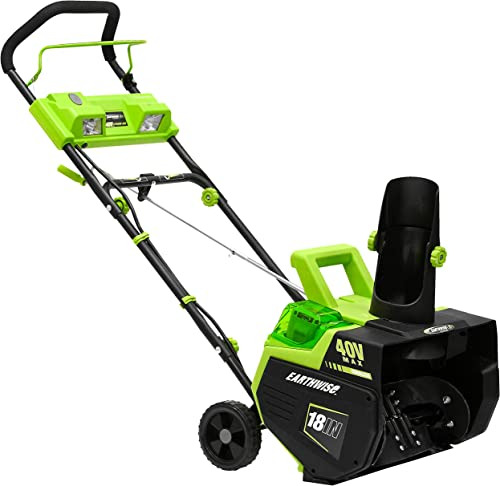 Earthwise SN74018 Cordless Electric 40-Volt 4Ah Brushless Motor, 18-Inch Snow Thrower, 500lbs Minute, With LED spotlight Battery and Charger Included