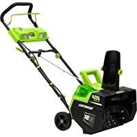 Earthwise SN74018 Cordless Electric 40-Volt 4Ah Brushless Motor, 18-Inch Snow Thrower, 500lbs/Minute, With LED spotlight…