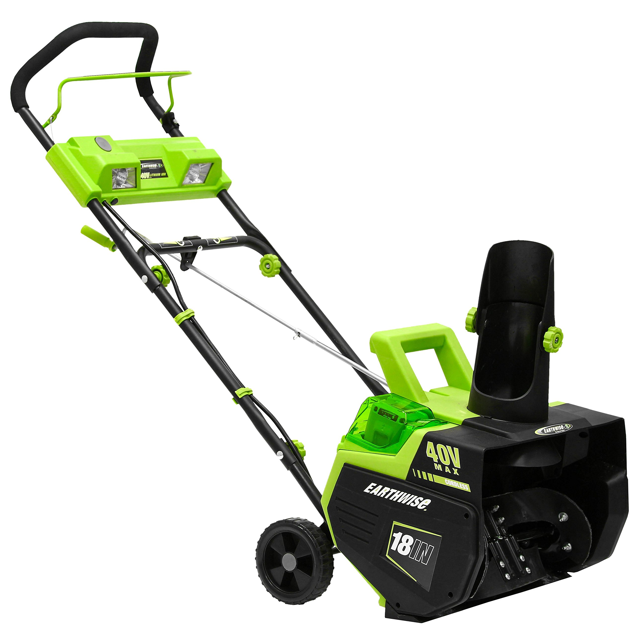 Earthwise SN74018 Cordless Electric 40-Volt 4Ah Brushless Motor, 18-Inch Snow Thrower, 500lbs/Minute, With LED spotlight (Battery and Charger Included) by Earthwise