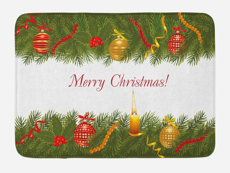 Burning Christmas Tree.Amazon Com Ambesonne Christmas Bath Mat Christmas Tree