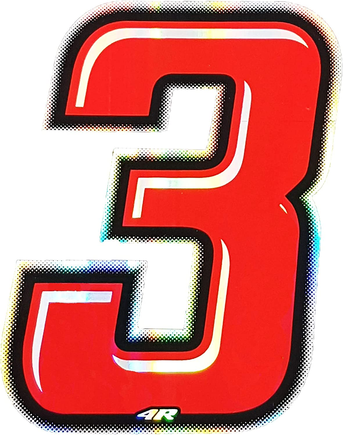 Holographic Racing Number 3 10/x 6.5/cm Red Slim