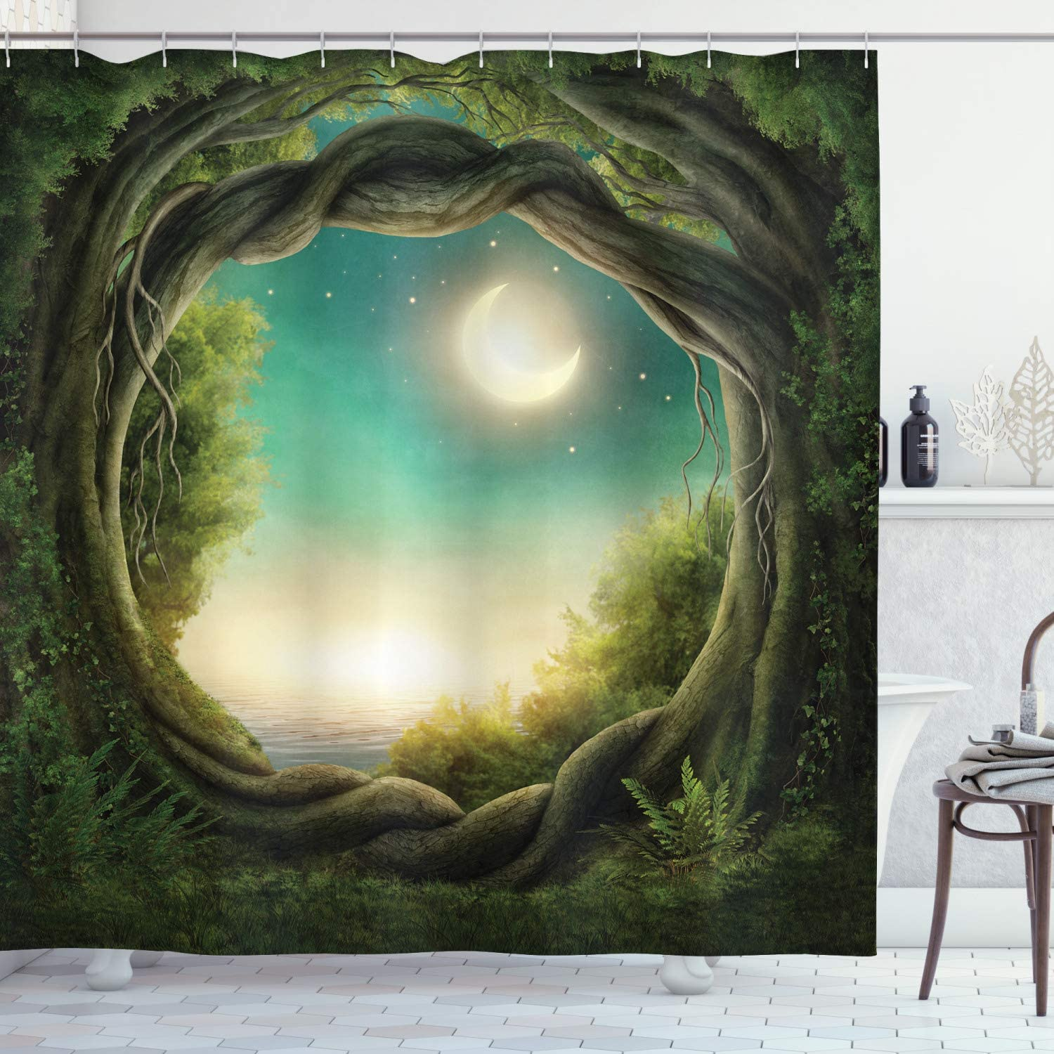 """Ambesonne Trees Shower Curtain, Trees in Enchanted Forest Full Moon Artwork Girls Boys and Family, Cloth Fabric Bathroom Decor Set with Hooks, 75"""" Long, Teal Cream"""