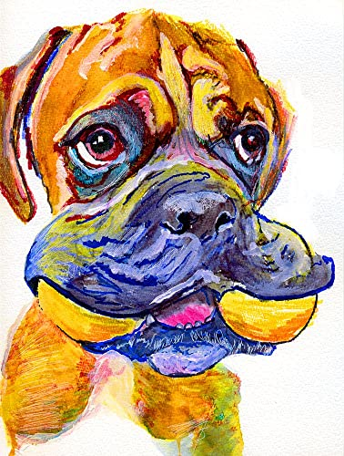 Amazon.com: Cute Boxer Dog Wall Art, Yellow Boxer Dog Puppy Owner ...
