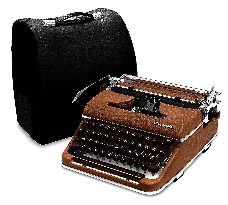 Olympia máquina de escribir 1959 SM4 S (raro cursiva/Script letra) marrón professionally-restored diseño Vintage de portátil Manual Máquina de escribir con ...