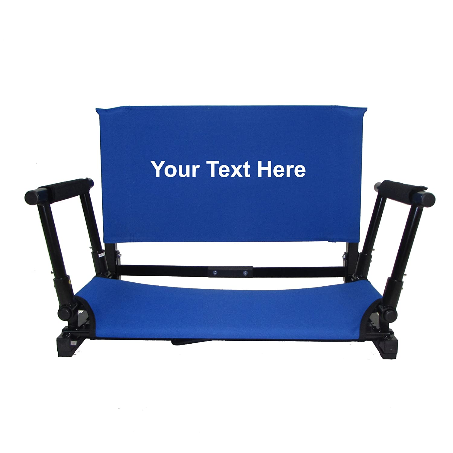 Personalized刺繍新しいデラックスWide Stadium椅子Gamechanger Bleacher Seat with Optional Arms B0765CBDG6  Royal Blue with Arms