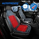 AUTOTRENDS SJ115R054-1 12V Car Heated Seat Cushion Soft Fleece Cover 45min Timer and Hi/Low Switch Controller Grey