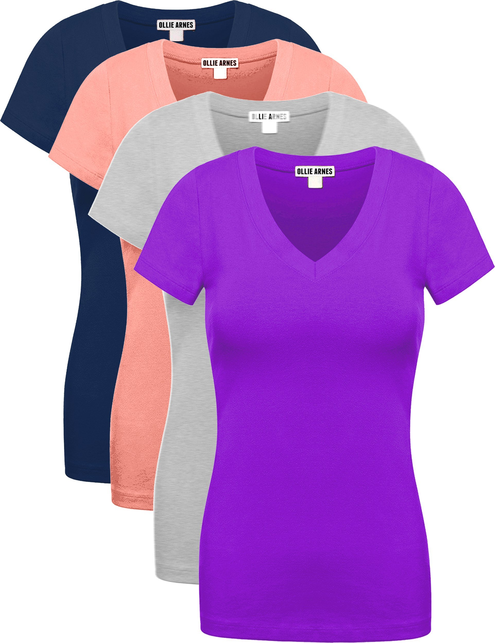Ollie Arnes Women's 4 Pack Essential Cotton Short Sleeves Solid V-Neck T-Shirts 4PK Nav_Aros_HGRY_Purp L