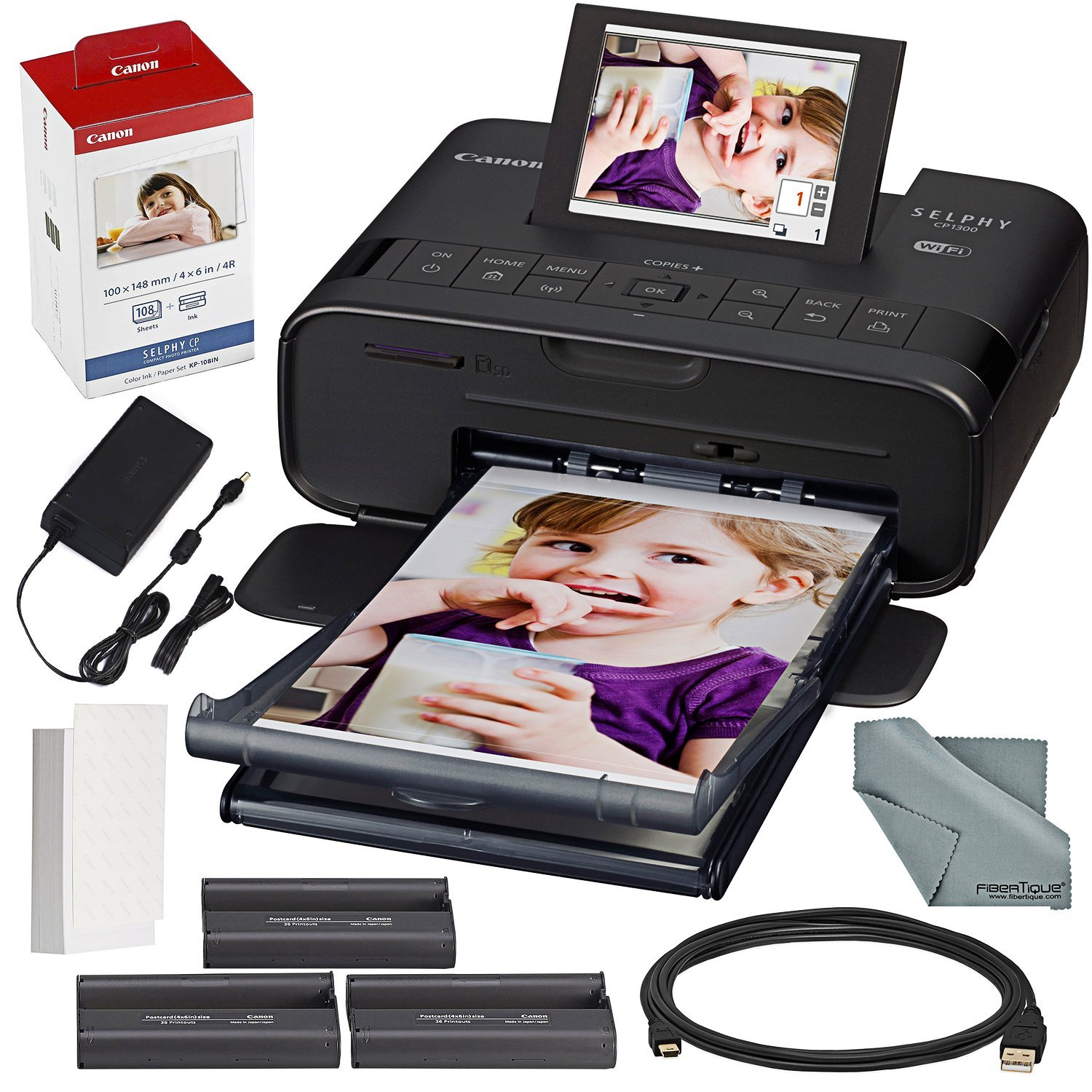 Canon SELPHY CP1300 Compact Photo Printer (Black) with WiFi and Accessory Bundle w/Canon Color Ink and Paper Set by Canon