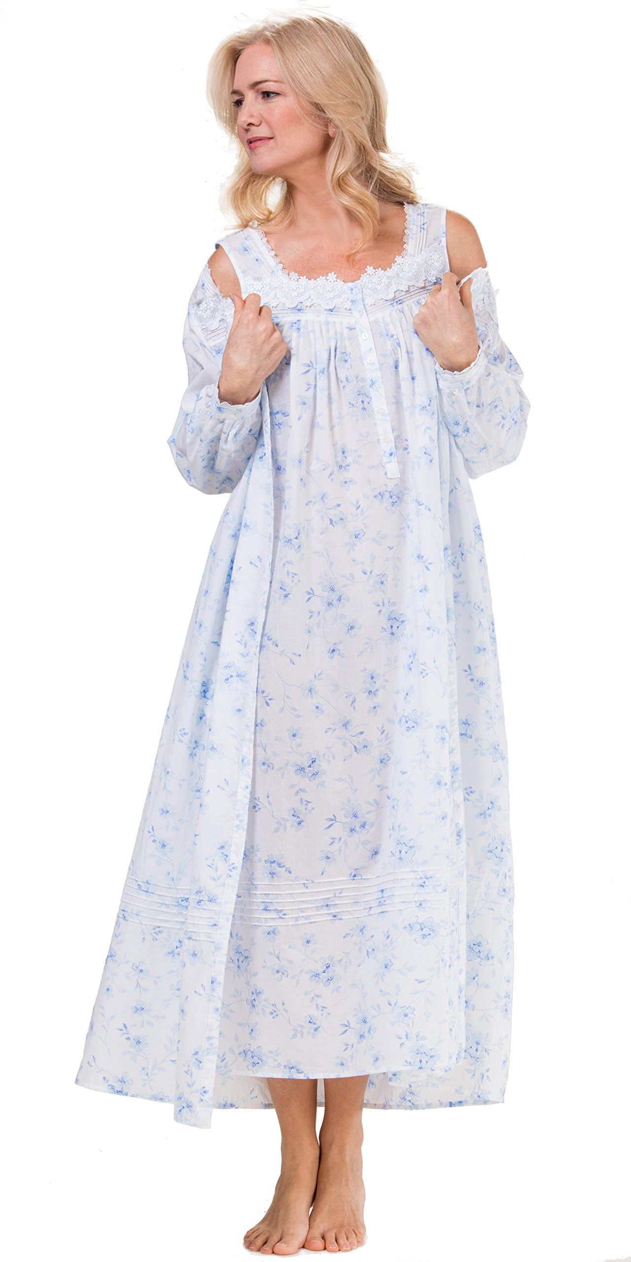 Eileen West Cotton Lawn Robe Gown Set In Dreamy Blue (Medium/10-12, Dreamy Blue Floral)