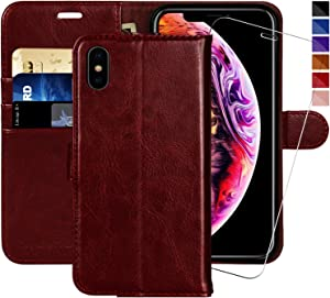 iPhone X Wallet Case/iPhone Xs Wallet Case,5.8-inch,MONASAY [Glass Screen Protector Included] Flip Folio Leather Cell Phone Cover with Credit Card Holder for Apple iPhone X/XS