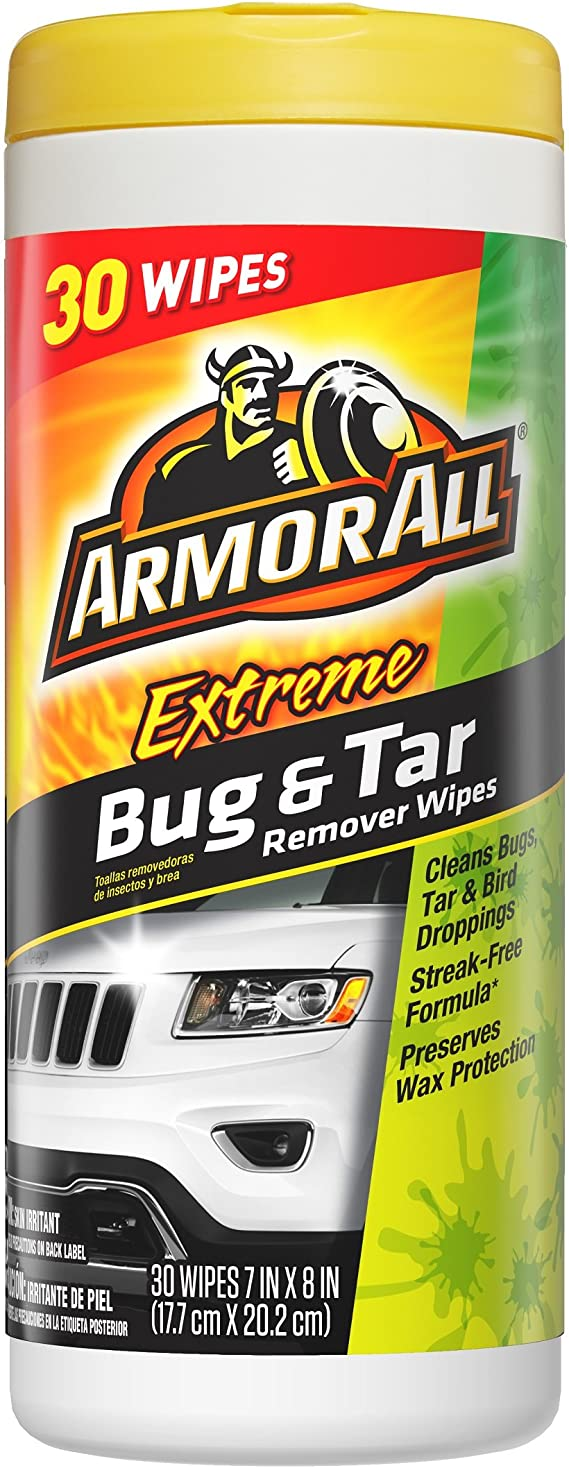 Armor All 18499 Car Cleaner Wipes for Bugs & Dirt 30 Count Cleaning for Cars & Truck & Motorcycle Interior and Exterior