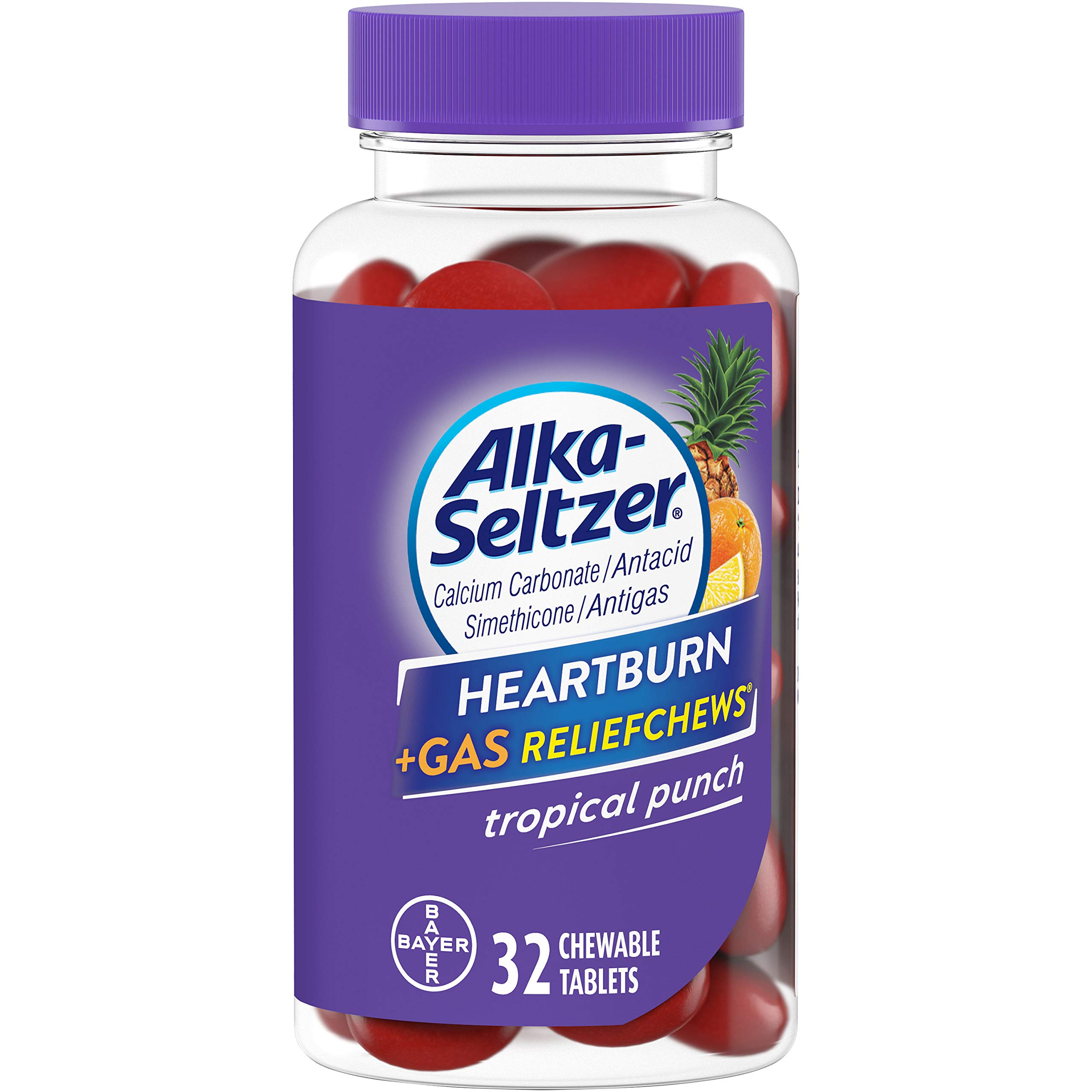 Alka-Seltzer Heartburn + Gas ReliefChews - Relief of Heartburn, Gas, Acid Indigestion, and Sour Stomach - Tropical Punch Flavors - 32 Count