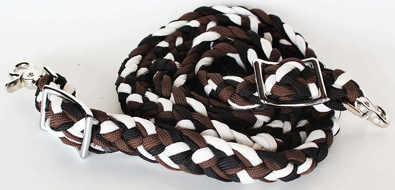 Horseロープ状Braided WesternバレルReinsナイロンReinロデオTackブラウン60773   B01BYZK3MY