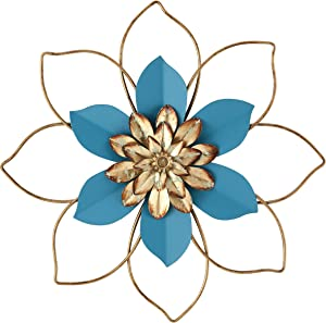 H HOMEBROAD. Metal Flower Wall Decor Hanging Decorations Outdoor Wall Sculptures for Home Bedroom Bathroom Kitchen Garden, Blue, 12inch