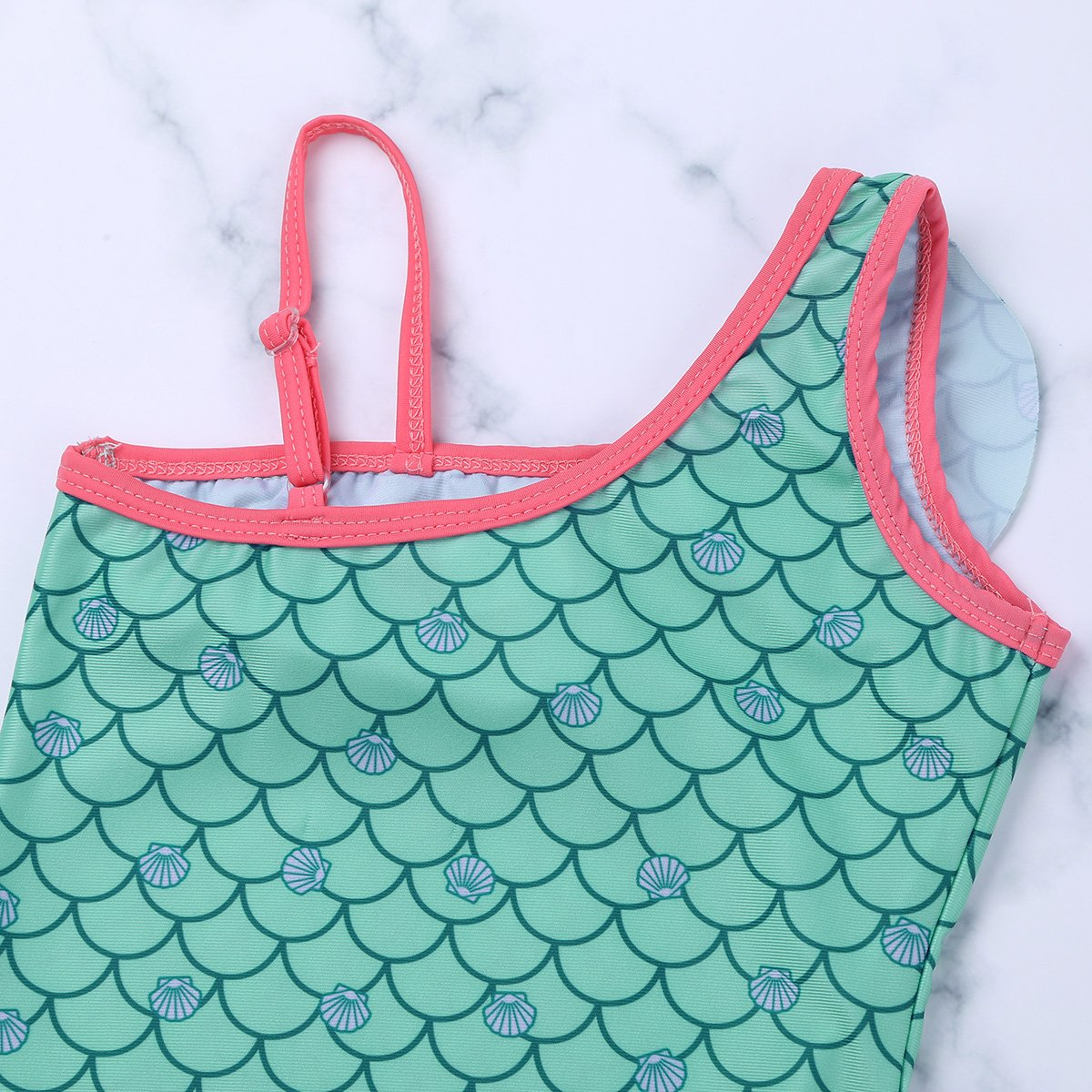 YiZYiF Little Girls Mermaid Swimwear Princess One Piece Ruffles Bathing Swimsuit with Adjust Shoulder Strap