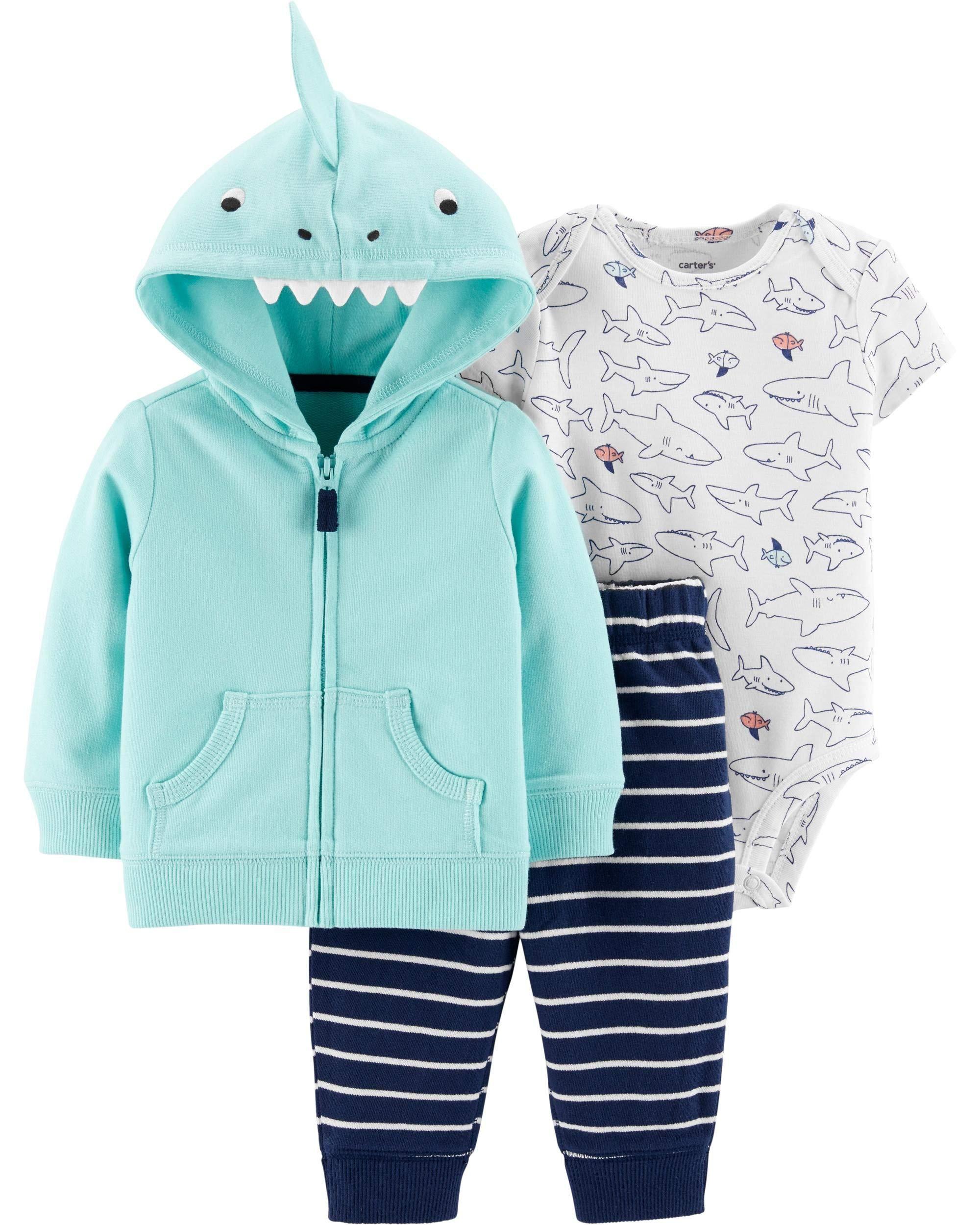Carter's Baby Boys` 3-Piece Little Jacket Set, Shark, 6 Months