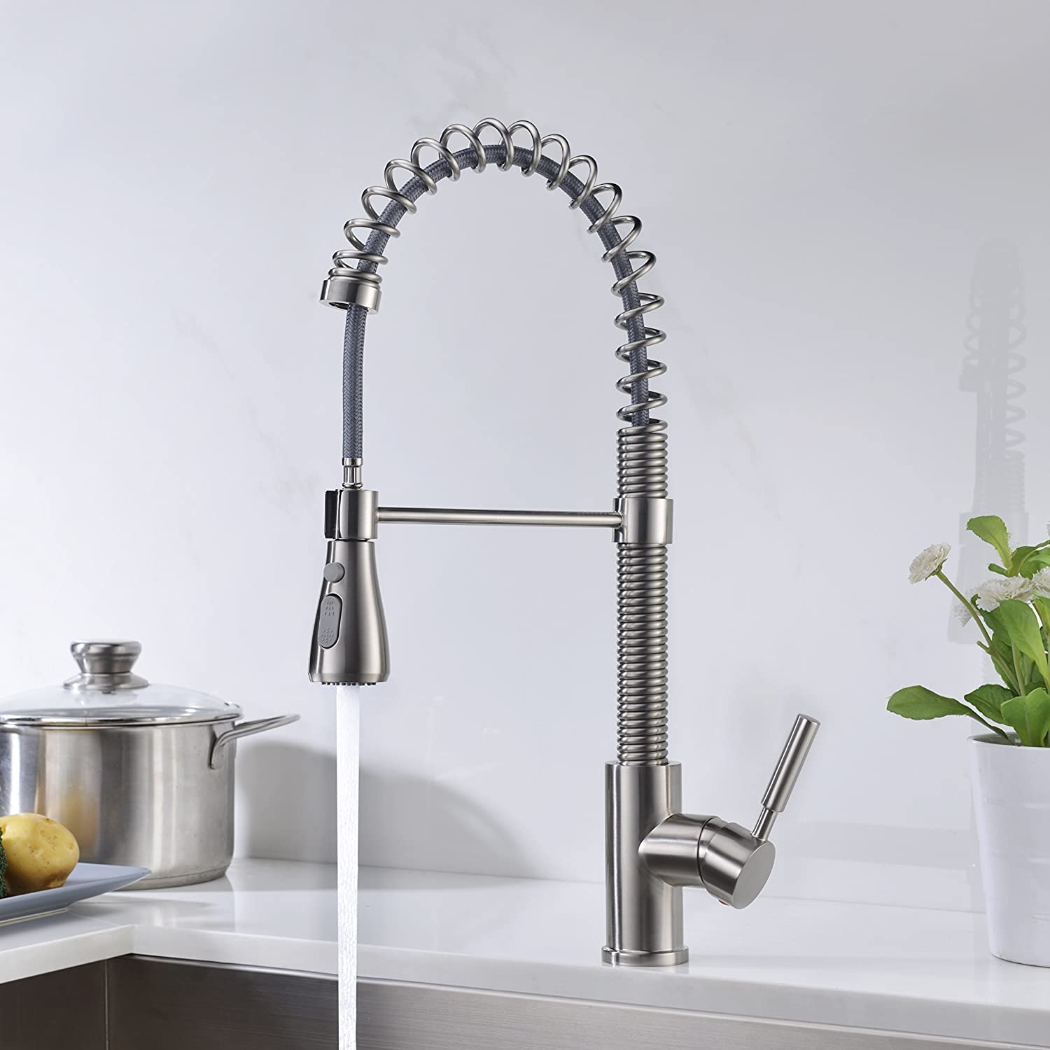 Kitchen Faucet Brushed Nickel with Pull Down Sprayer Delle Rosa ...
