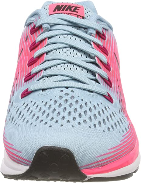 2512f6d6c739dc Women s Air Zoom Pegasus 34 Running Shoe Wide Mica Blue White Racer Pink Sport  Fuchsia Size 7.5 Wide US