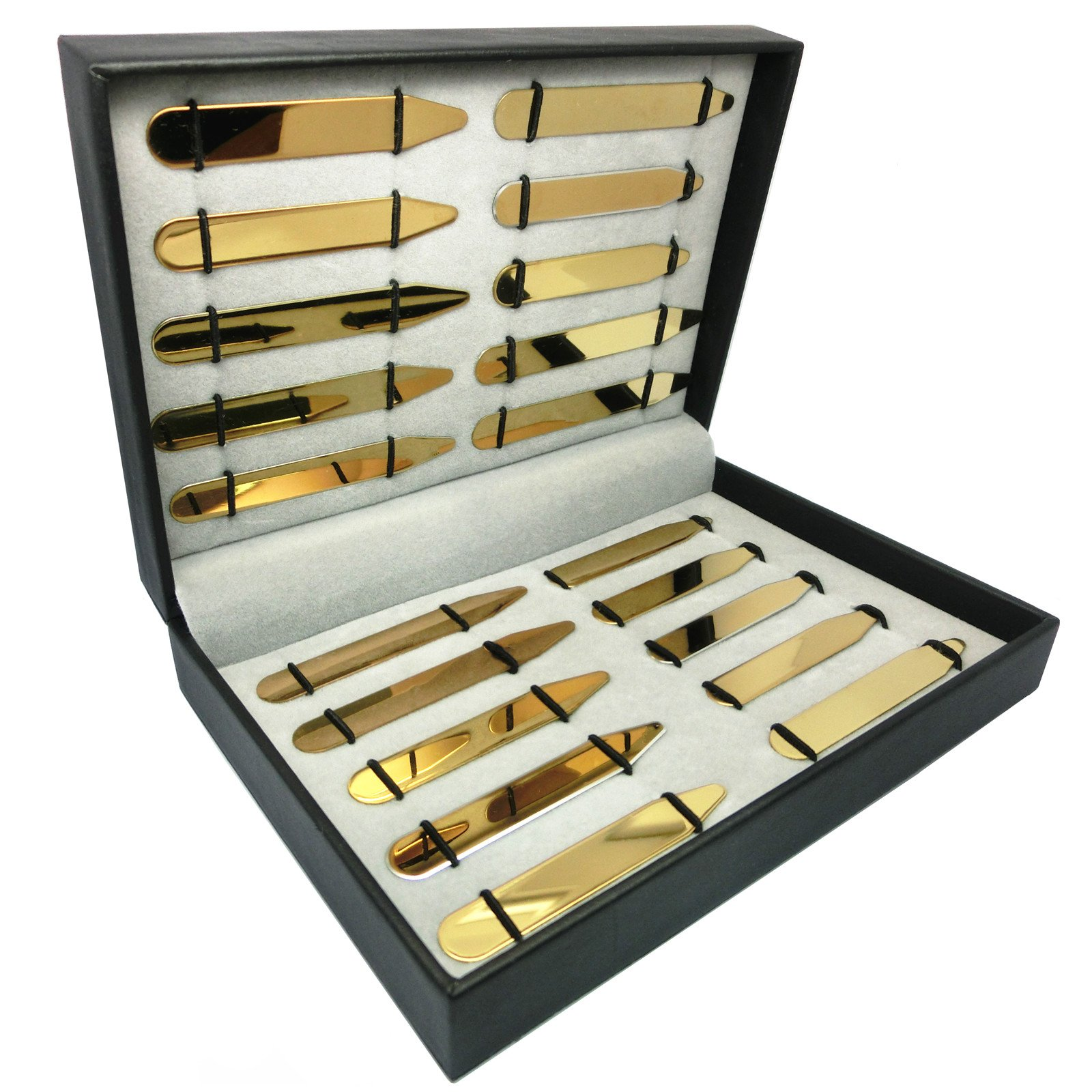 Shang Zun (Free Custom) 20 Pcs Stainless Steel Collar Stays in Box,Golden,5 Sizes