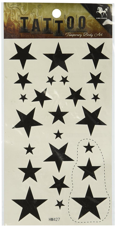 ボディペイント テンポラリータトゥー 防水 刺青シール ブラック 星   B007QX5ZQS