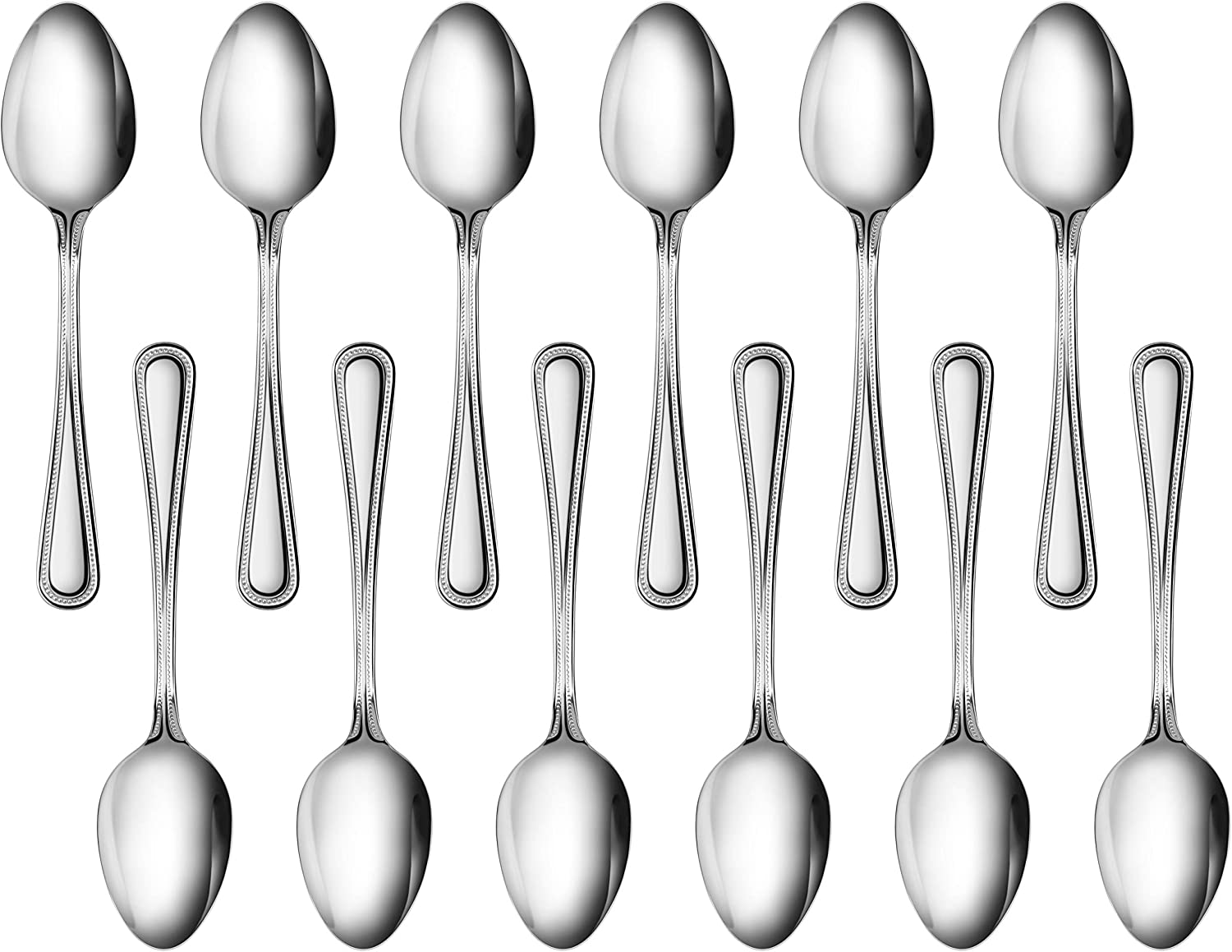New Star Foodservice 58529 Bead Pattern, 18/0 Stainless Steel, Dinner Spoon, 7.6-Inch, Set of 12