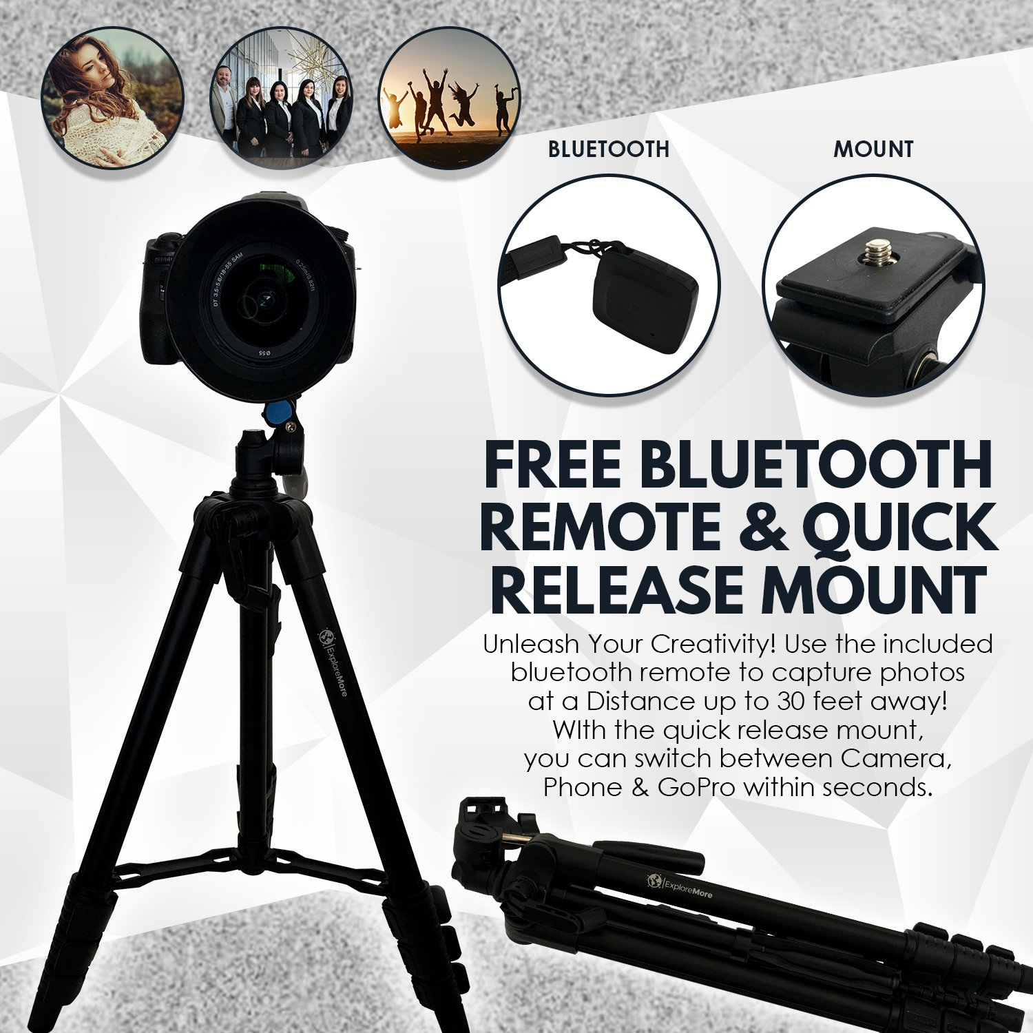 Lightweight Travel Tripod 48 Inch Bluetooth Remote Basic Camera Controls Unleashed Phone Mount Gopro Carrying Bag Premium Aluminum Digital Android