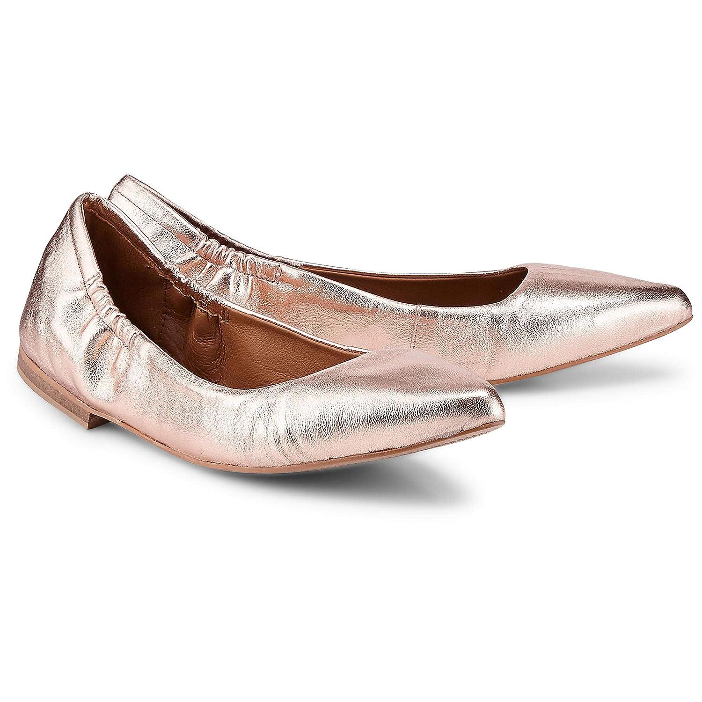 Cox aus Stretch Ballerina für Damen, Goldene Flats aus Cox Leder mit rutschhemmender Laufsohle 56bb7b