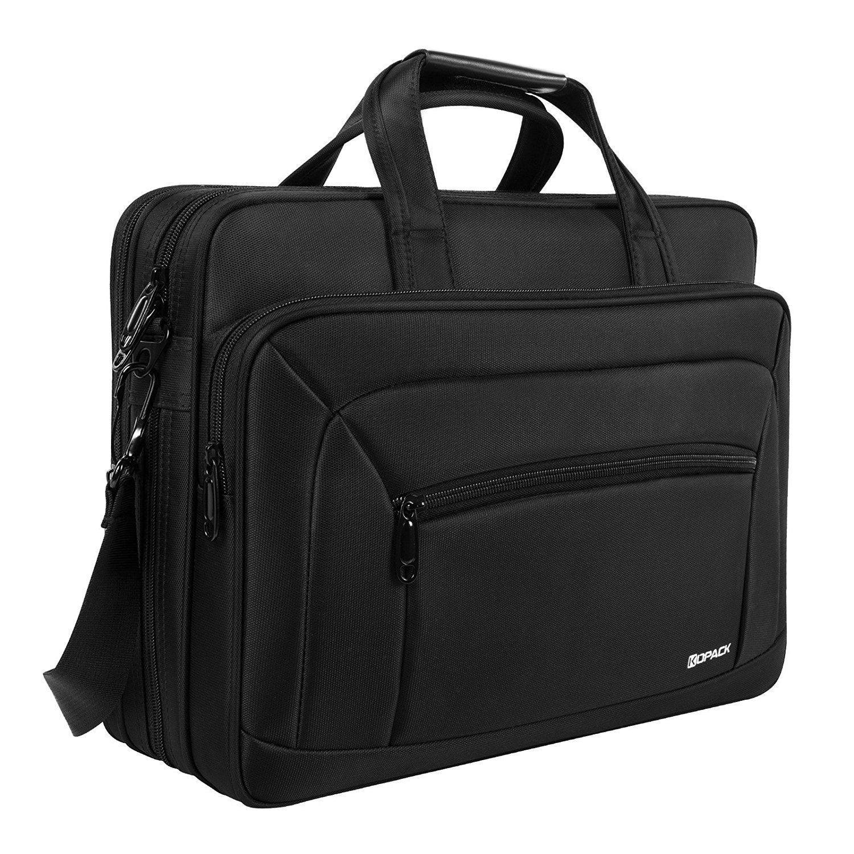 Kopack 17 17,3 Zoll Laptop Tasche Erweiterbar Computer Umhängetasche, Wasserbeständigke Business Reise Büro Aktentasche für Männer KP692