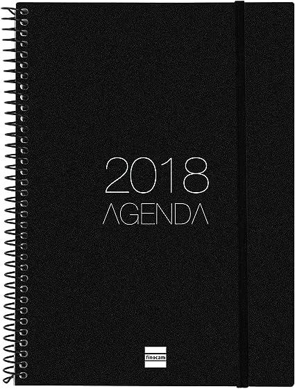 Finocam Espiral Opaque - Agenda 2018, semana vista vertical, español, 155 x 215 mm, 80 g/m², color negro: Amazon.es: Oficina y papelería