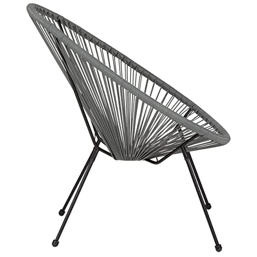 Flash Furniture Valencia Oval Comfort Series Take Ten Grey Rattan Lounge Chair