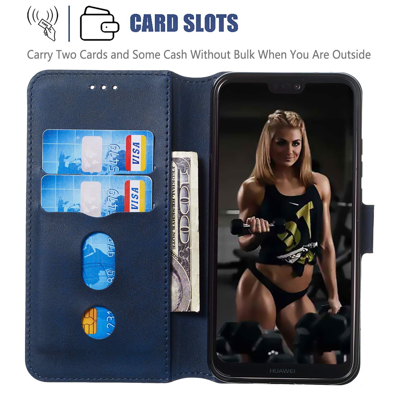 Portefeuille /Étui en Cuir Synth/étique Fonction Stand Case Housse Folio /à Rabat Compatible avec Huawei P20Lite Tosim Coque Huawei P20 Lite//Nova 3e TOYYO080381 Bleu