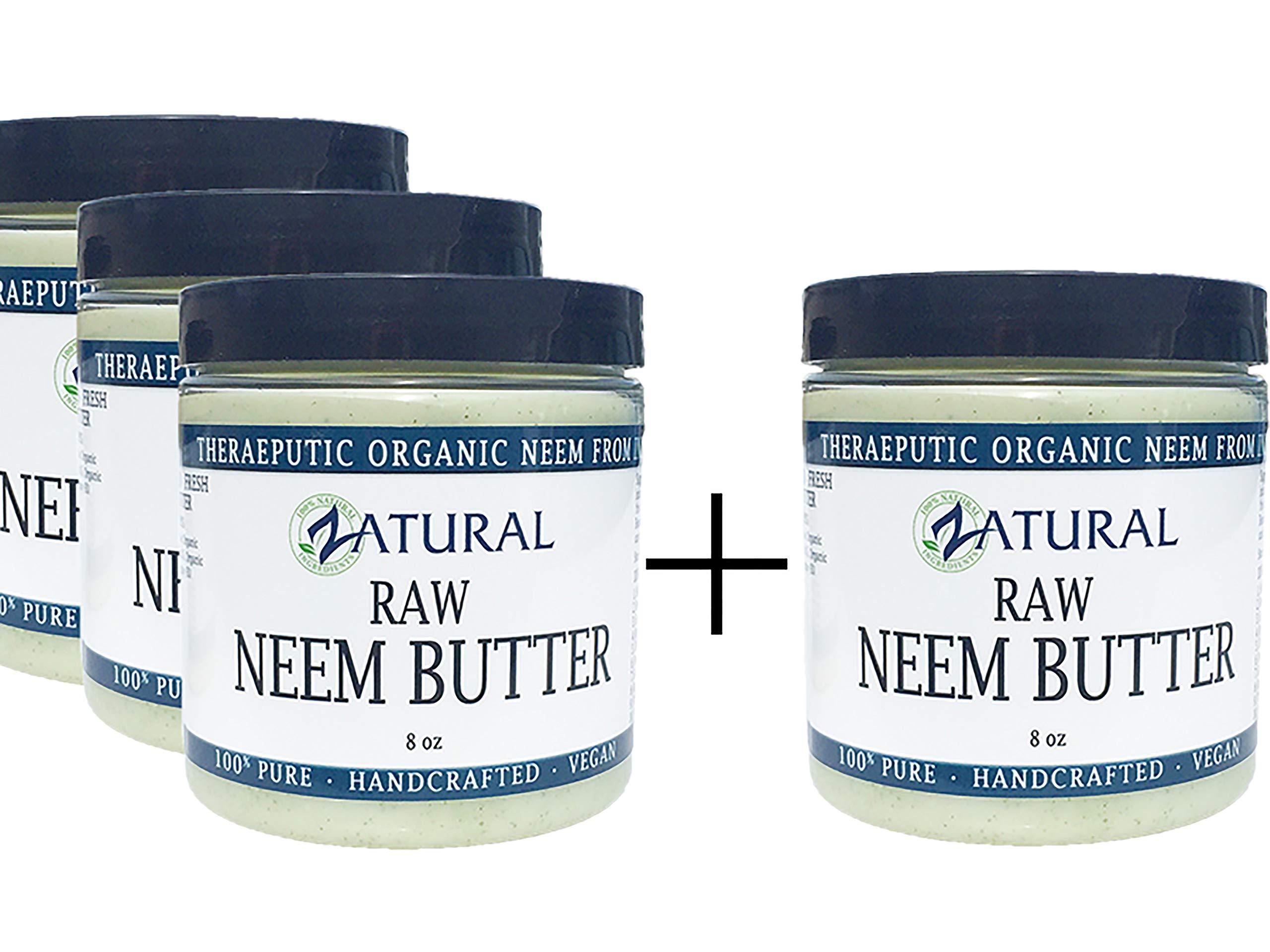 Organic Neem Butter-Shea Butter, Coconut Oil, Neem Oil, Neem Leaf, Marula Oil, Kokum Butter, Rosemary (4 Pack)