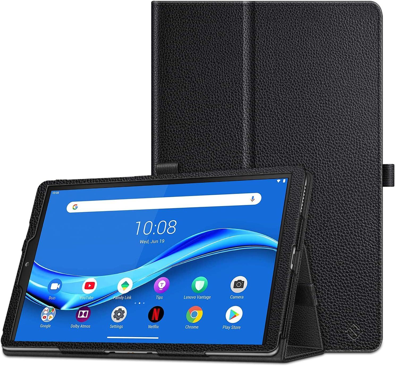 "CaseBot Case for Lenovo Tab M10 Plus, Premium PU Leather Folio Cover with Auto Sleep/Wake for Lenovo Tab M10 Plus TB-X606F / TB-X606X 10.3"" FHD Android Tablet, Black"