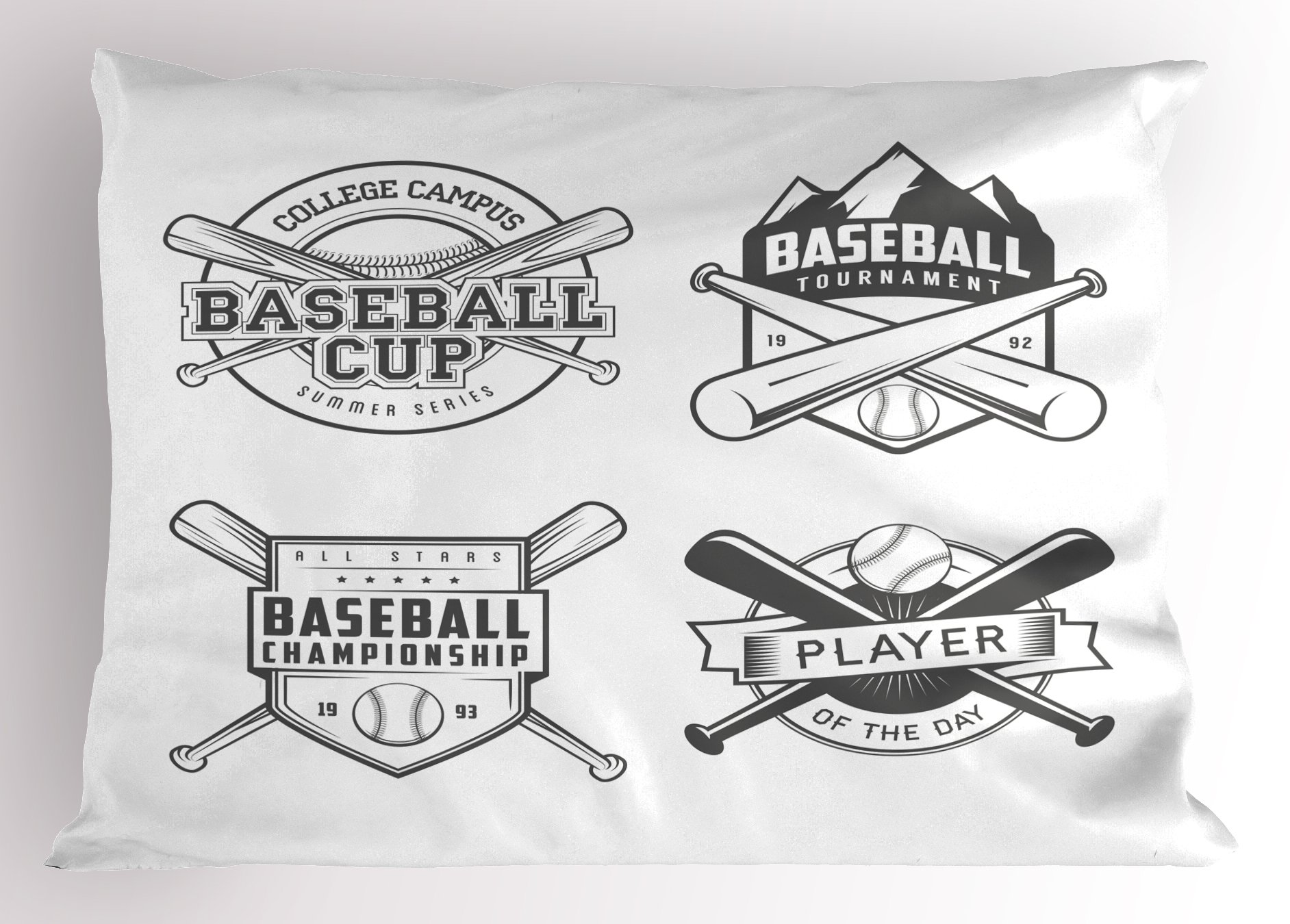 Lunarable Sports Pillow Sham, College Baseball Logos Vintage Greyscale Composition of Labels of Teams, Decorative Standard Queen Size Printed Pillowcase, 30 X 20 inches, Charcoal Grey and White