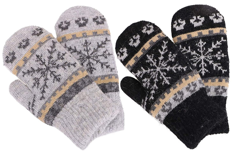 Black Light Grey Mittens Women's Winter Fair Isle Knit Sherpa Lined Mittens  Set of 2 Pairs
