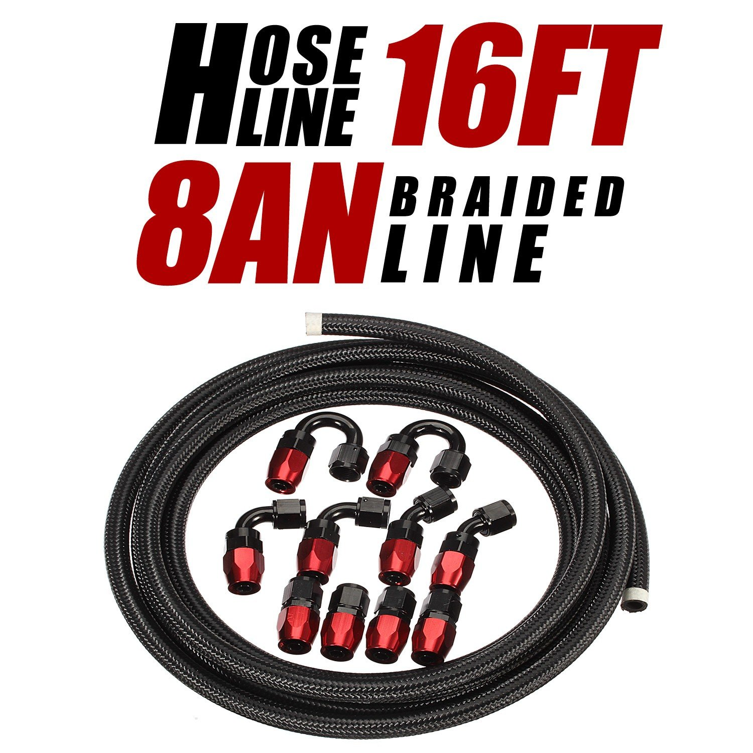 Vincos 8 an AN8 16Ft Nylon and Stainless Steel Braidied Feul Hose 10pcs an 8 Hose Fitting Kit