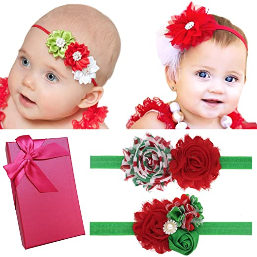 Elesa Miracle Baby Hair Accessories Girls Gift Box With Bow Flower Headband 4pc
