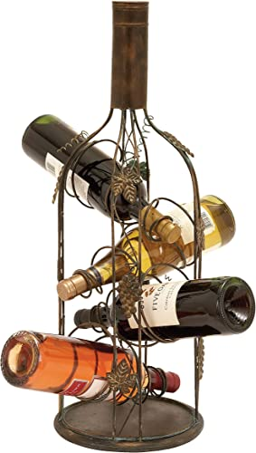 Deco 79 Grape Vine-Designed 4-Bottle Metal Wine Rack