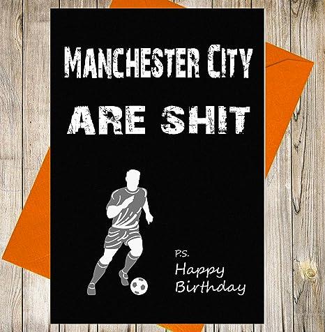 Manchester City Tarjeta de cumpleaños broma gracioso insulto ...