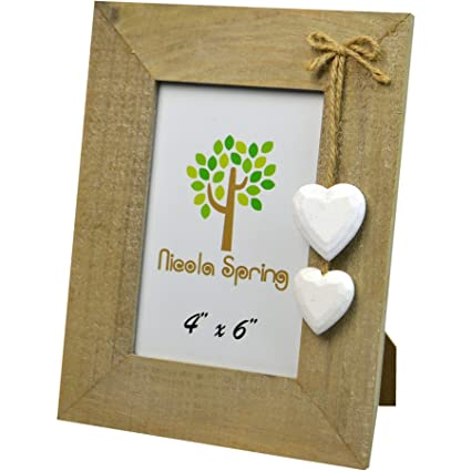 Amazon.com - Natural Rustic Wood White Heart Photo Frame - Single Frames