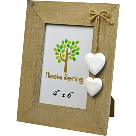 Nicola Spring Wooden Photo Picture Frame With White Hearts 4 X 6